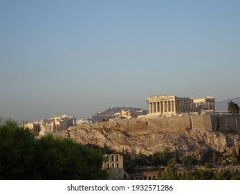 the acropolis of athens during sunset