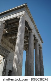 Acropolis Athens Greece Ancient civilization. Ancient Acropolis architecture in Athens Greece. White marble architecture of ancient building in Greece. Old civilization Acropolis Athenes ruins