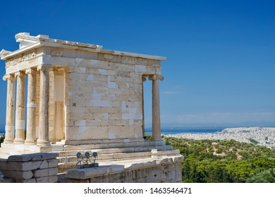 Acropolis, Athens / Greece - July 2019: Nike temple - the goddess of victory