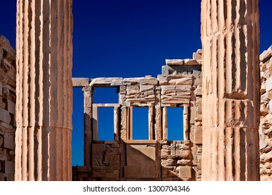 """ACROPOLIS, ATHENS, GREECE - October 31, 2010. Beautiful architectural """"detail"""" from the Erechtheion (""""Erechteum""""), the temple of the famous Caryatids."""