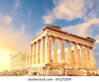 Acropolis in Athens, Greece. Parthenon temple on a sunset. This image is toned.