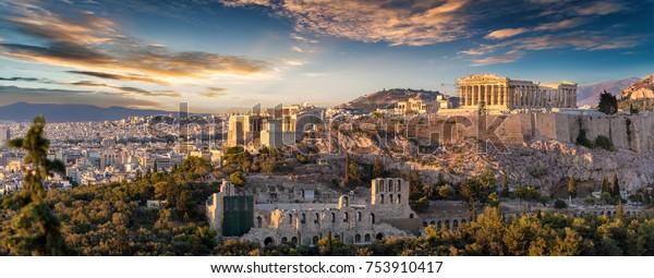 Die Akropolis von Athen, Griechenland, mit dem Parthenon-Tempel bei Sonnenuntergang