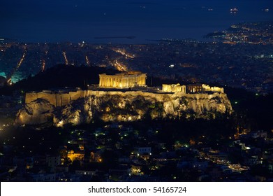 Acropolis in Athens at night, view from Lycabettus hill