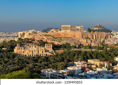 The Acropolis of Athens, with the Parthenon Temple at sunset, Athens, Greece.