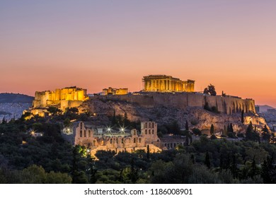 The Acropolis of Athens at sunrise, seen from the Hill of the Muses, Greece