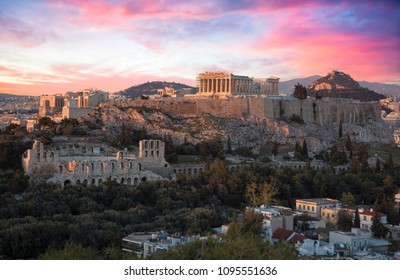 Acropolis of athens at sunset