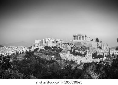 Acropolis- Athens surrounded by lush foliage, Greece, Europe