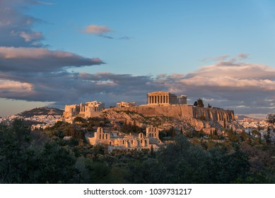 The Acropolis late in the afternoon with passing clouds