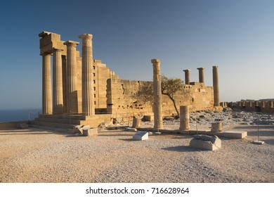 Acropolis of Lindos,  ancient temple in Greek island Rhodos