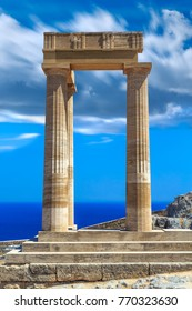 Acropolis of Lindos, island of Rhodes, Dodecanese, Greece