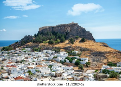 acropolis of lindos on a summer day