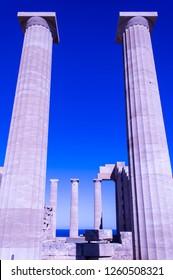 Acropolis of Lindos - Lindos, Rhodes, Greece - December 7, 2018