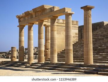 Acropolis in Lindos. Staircase of Propylaea. Rhodes island. Greece