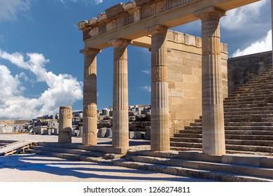 Acropolis in Lindos and Vliha bay. Rhodes Island. a. Greece.