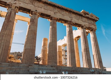 Acropolis pantheon. Ancient Greece architecture. Athens acropolis