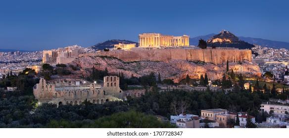 Acropolis - Parthenon of Athens at dusk time, Greece