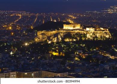 Acropolis and parthenon by night Athens Greece