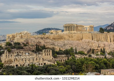 Acropolis reconstruction photography from opposite rock urban Athens - capital of Greece city landmark view