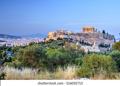 Acropolis seen from Filopapos Hill, Athens, Greece