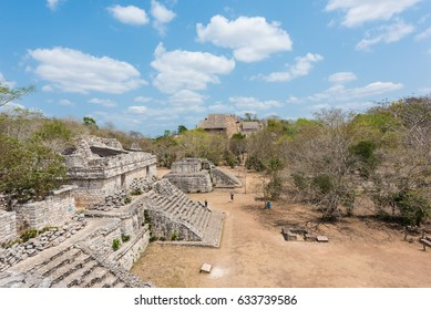 The Acropolis & Structure 17, also known as The Twins, in the Mayan ruins of Ek' Balam in the Yucatan Peninsula, Mexico