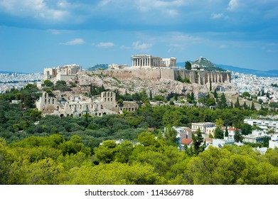 Acropolis viewed from Philoppappos hill, Athens Greece