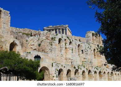 The Acropolis,Parthenon and  Odeon of Herodes Atticus in Athens,Greece