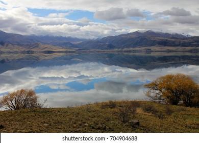 Across lake to mountains