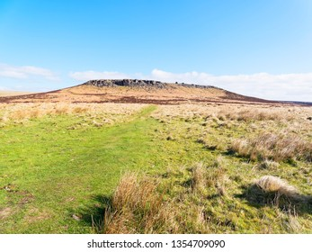 Across open moorland to Higger Tor in the Derbyshire Peak District.