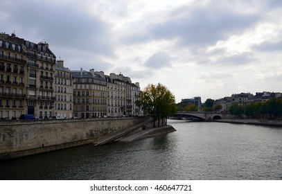 Across the River Seine taking in the beauty of the island of Saint-Louis in Paris France./Ile Saint-Louis