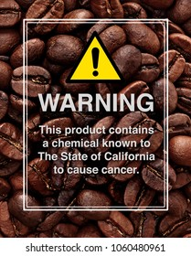 Acrylamide warning sign on coffee beans background