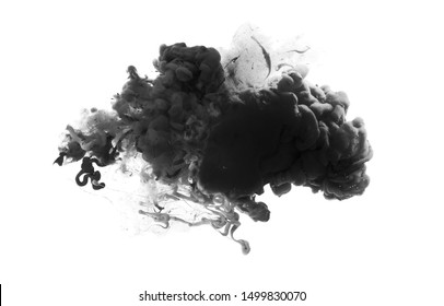 Acrylic black and white colors in water. Ink blot. Abstract background.
