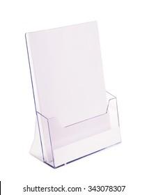 Acrylic brochure holder isolated on white