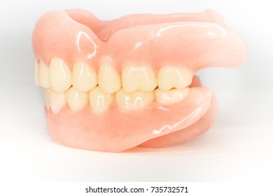 acrylic completed denture from side view