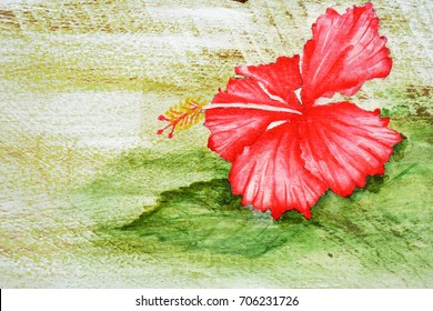 Acrylic hand painting on the white and light green wooden background of red Hibiscus