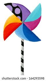 Acrylic illustration of Children's toy windmill