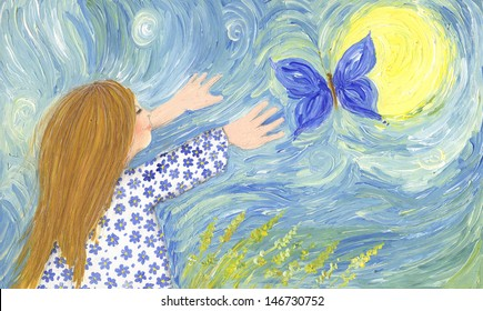 Acrylic illustration of girl chasing butterfly