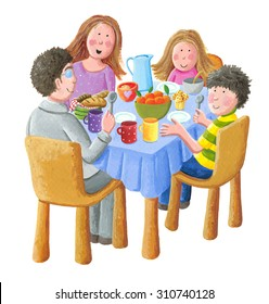 Acrylic illustration of happy family eating breakfast - artistic content