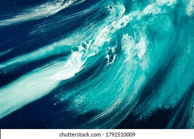 Acrylfarbenwasser. Meeressturm. Blau-Ozean Wellen Splash mit weißem Schaumeffekt. Marmor Textur kreatives Design. Naturkunde, Hintergrund. Mineral abstraktes Gesteinsmuster mit Fleck-Funkeln.