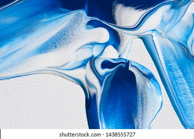 acrylic paint, abstract stains, blue and white color
