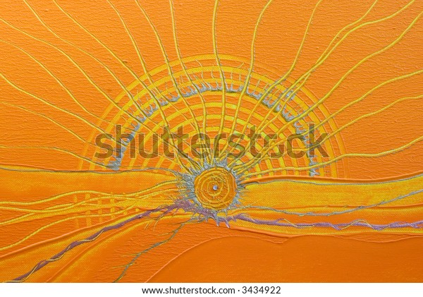 Acrylic painting of abstract sun, painting was created by photographer