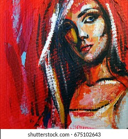 Acrylic painting portrait of beautiful girl in red, blue and yellow colors