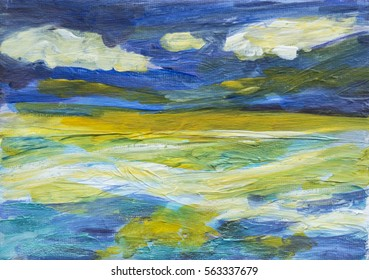 An acrylic painting, semi abstract illustration of the sea and sky. The sea has tones of green with blue and foaming waves, and the yellow light in the sky is reflected in the sea.