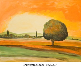 Acrylic Painting of a Tuscan Landscape