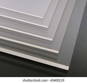 acrylic plates isolated at the black background
