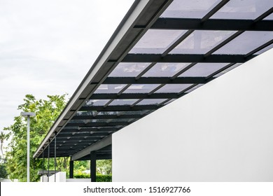 Acrylic transparent roof sheeting close-up for outdoor patio roof