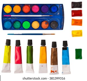 Acrylic, watercolor and oil tubes with brushes isolated on white background, artistic equipment, flat lie, top view photo, back to school