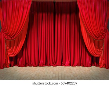 Act drape with red curtains. 3D illustration