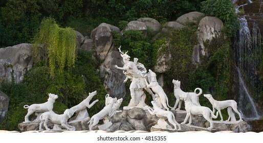 The Actaeon sculptural garden fountain group at the Cascade in the park of Caserta Palace (Reggia of Caserta). Campania, Italy