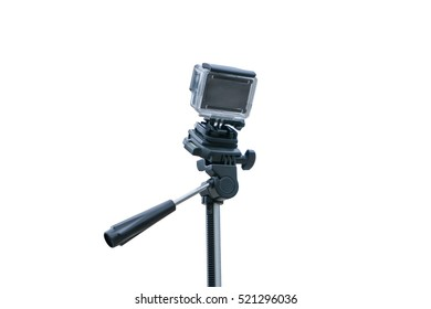 Action camera with tripod isolated on a white background