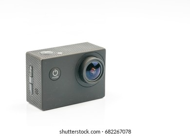 Action camera with white background.